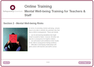 Mental well being training screenshot