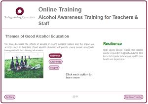 Sge alcohol training screen